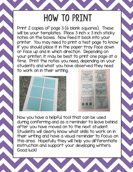 Pattern Book Writing Printable Sticky Notes
