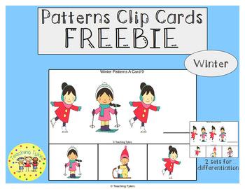 Winter Patterns Task Clip Cards Winter FREEBIE