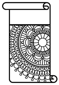 Pattern Coloring Pennant, Name Banner, Scroll, Mandala set 34, Classroom Display