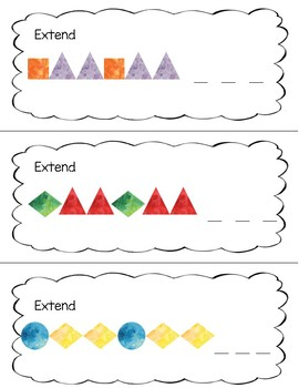 Pattern Extension Math Centre Cards
