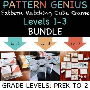 Pattern Genius: Pattern Matching Cube Game, Levels 1-3 BUNDLE for PreK-2