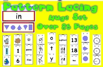 Pattern Lacing w/ Reference Cards - 85 pgs - money, sight words, time, counting