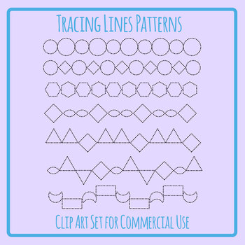 Pattern Lines for Tracing / Pencil Control Clip Art Set Commercial Use
