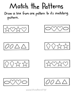 Pattern Matching Worksheets - No Prep - Ongoing Bundle {KT Creates}