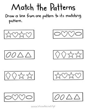 Pattern Matching Worksheets - No Prep - Ongoing Bundle {KT Creates}