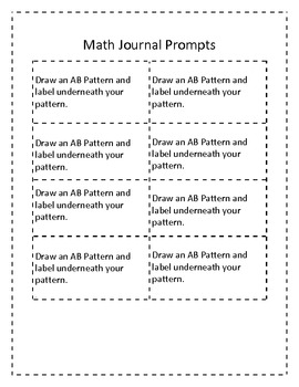 Pattern Math Journal Prompts