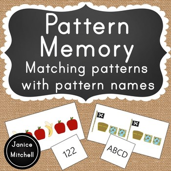 Pattern Memory Math Game Matching Pattern Names and Patterns