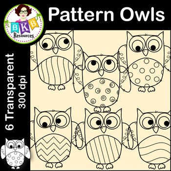 Owl Clip Art ● Fall Pattern Owls ● Commercial Use