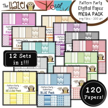 Pattern Party Digital Papers MEGA Pack {Save 50% by Purchasing 12 Sets in 1!}