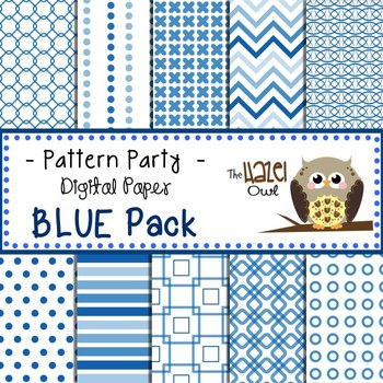 Pattern Party Digital Papers in Blue: Graphics for Teachers