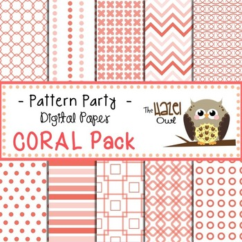 Pattern Party Digital Papers in Coral: Graphics for Teachers