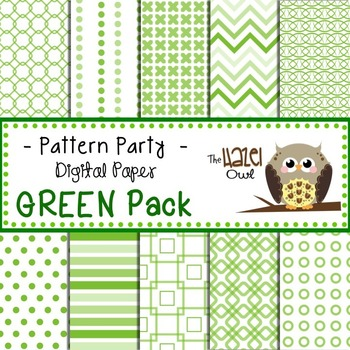Pattern Party Digital Papers in Green: Graphics for Teachers