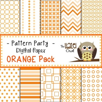Pattern Party Digital Papers in Orange: Graphics for Teachers