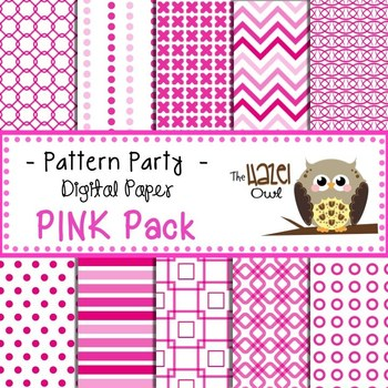 Pattern Party Digital Papers in Pink: Graphics for Teachers