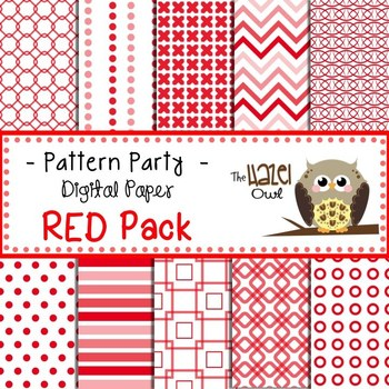 Pattern Party Digital Papers in Red: Graphics for Teachers
