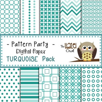 Pattern Party Digital Papers in Turquoise/Teal: Graphics for Teachers