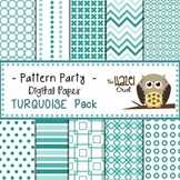 Pattern Party Digital Papers in Turquoise/Teal: Graphics f