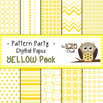Pattern Party Digital Papers in Yellow: Graphics for Teachers
