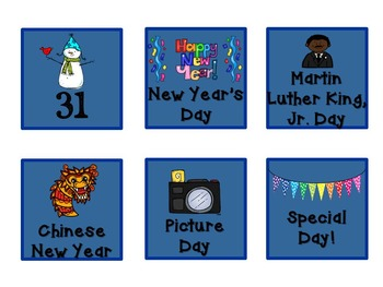 Pattern Practice Calendar Cards for January