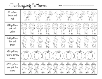Pattern Practice: Thanksgiving, Earth, Beach, and Arctic
