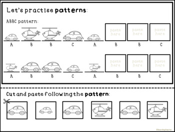 Pattern Practice with Cars and Helicopters - Math Centers and Worksheets