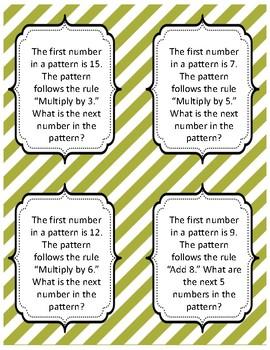 Pattern Problems (A 4th Grade Math Center) FREEBIE
