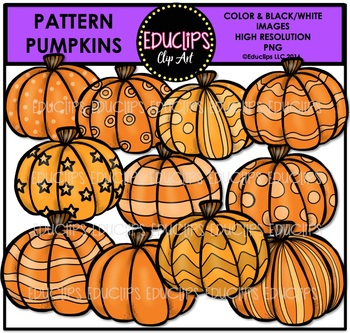 Pattern Pumpkins Clip Art Bundle {Educlips Clipart}