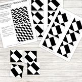 Pattern Repeat Tile Game - Geometric #1 - black and white - Printable PDF