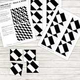 Pattern Repeat Tile Game - Geometric #1 - black and white