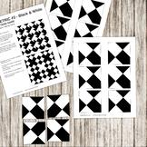 Pattern Repeat Tile Game - Geometric #2 - black and white - Printable PDF