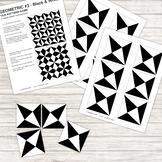 Pattern Repeat Tile Game - Geometric #3 - black and white - Printable PDF