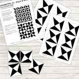 Pattern Repeat Tile Game - Geometric #3 - black and white