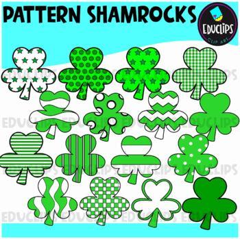 Pattern Shamrocks Clip Art {Educlips Clipart}