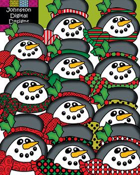 Pattern Snowmen Clipart