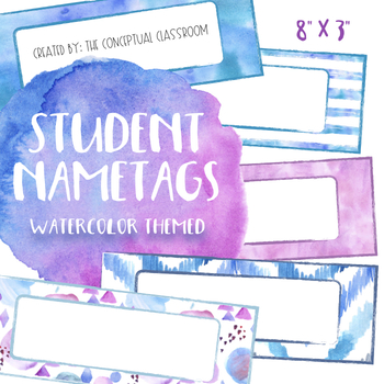 EDITABLE Pattern Watercolor Name Tags