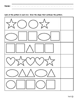 Pattern Worksheets (1-2-1-2, 1-2-2-1, 1-2-3)