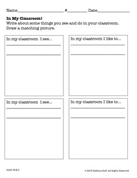 """Pattern Writing: """"In My Classroom"""""""