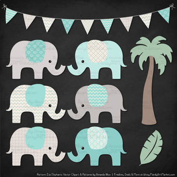 Pattern Zoo Vector Elephants Clipart & Digital Papers in Aqua