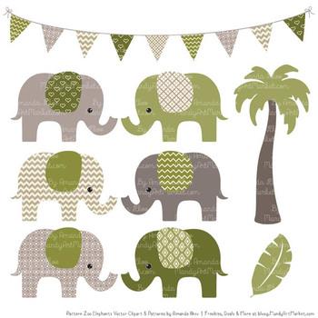 Pattern Zoo Vector Elephants Clipart & Digital Papers in Avocado