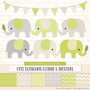 Pattern Zoo Vector Elephants Clipart & Digital Papers in Bamboo