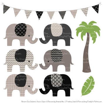 Pattern Zoo Vector Elephants Clipart & Digital Papers in Black