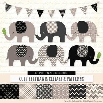 Pattern Zoo Vector Elephants Clipart & Digital Papers in Black