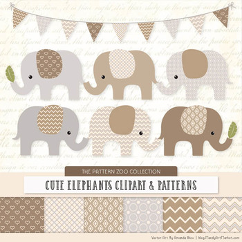 Pattern Zoo Vector Elephants Clipart & Digital Papers in Champagne