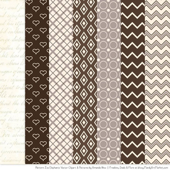 Pattern Zoo Vector Elephants Clipart & Digital Papers in Chocolate