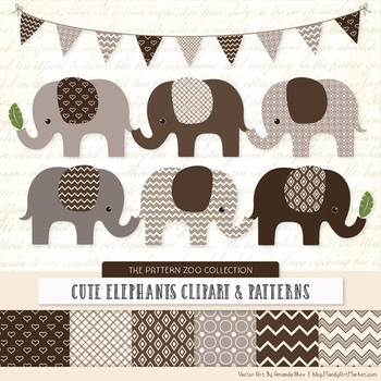 Pattern Zoo Vector Elephants Clipart & Digital Papers in C