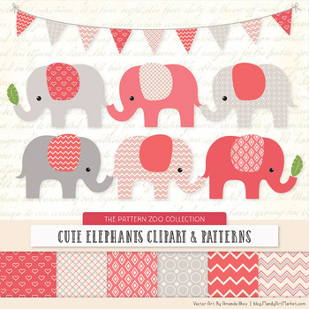 Pattern Zoo Vector Elephants Clipart & Digital Papers in Coral