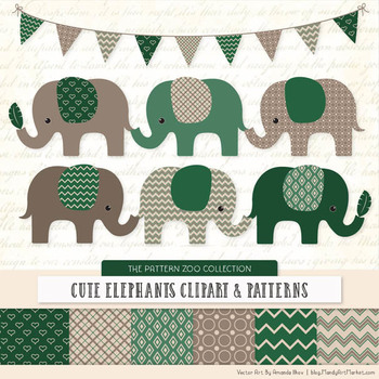 Pattern Zoo Vector Elephants Clipart & Digital Papers in Emerald