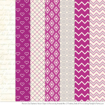 Pattern Zoo Vector Elephants Clipart & Digital Papers in Fuchsia