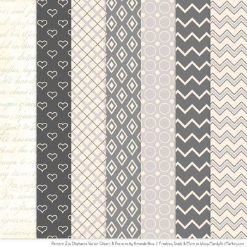 Pattern Zoo Vector Elephants Clipart & Digital Papers in Grey