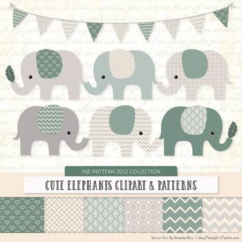 Pattern Zoo Vector Elephants Clipart & Digital Papers in Hemlock